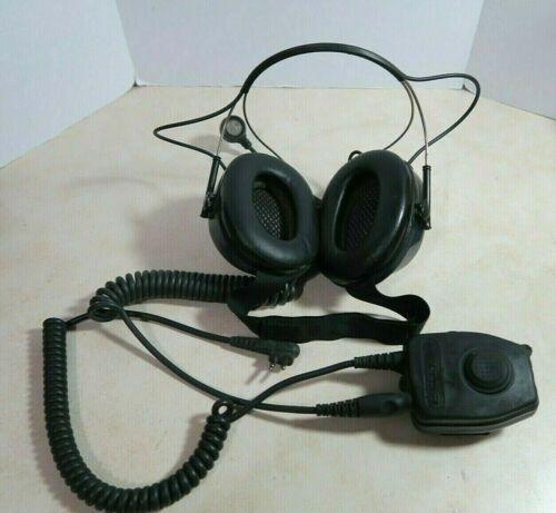 3M Peltor Behind-the-Head Earmuff Headset with FL5014 Push to Talk PTT Adapter