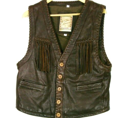 M Julian Adventures Santa Fe Mens Leather Western Vest S Brown Distressed