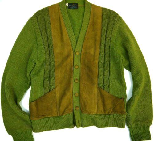 Vintage 60s Cardigan Sweater Atomic Mod Rockabilly 2-Tone Retro Green Knit Mens