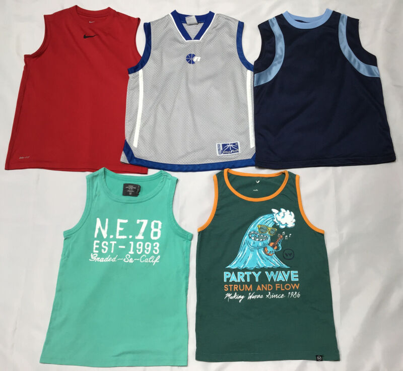 Lot of 5 Boys Size 8-10 Tank Tops Nike Dri-Fit Russell Athletic H&M W Blue Red