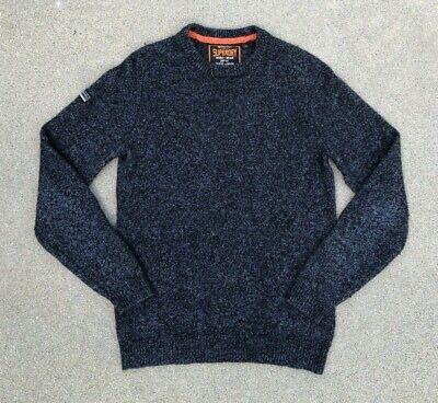 SUPERDRY Men's Premium Blue Wool Blend Crew Sweater Sweatshirt | Small