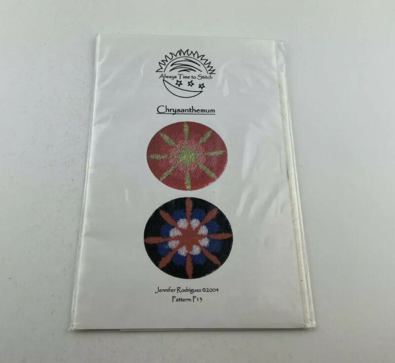 Always Time To Stitch Chrysanthemum Punch Needle Pattern With Fabric