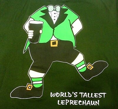 Worlds Tallest Leprechaun T-shirt 2XL Green Traditional Craft Wear Slim Fit Beer