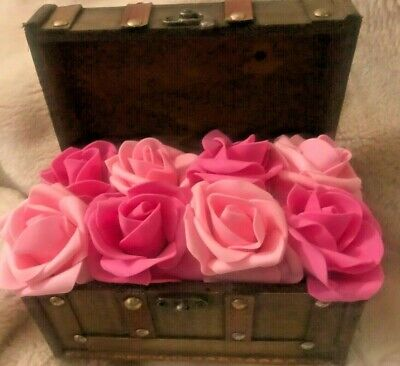 Wooden Flower Box Centerpiece (wooden chest Box Flowers Faux Forever eternal Roses pink foam table)