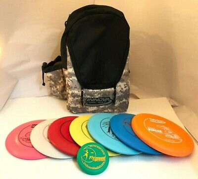 NEW FRISBEE DISC GOLF INNOVA BUILD YOUR OWN 7 PACK SET w/ CAMO BACKPACK BAG MINI