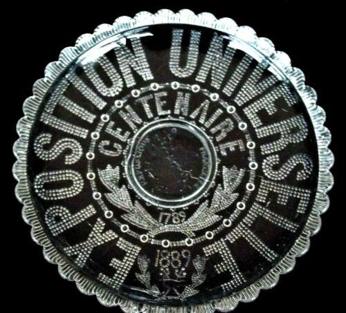 """Antique 1789-1889 Exposition Universelle Centenaire Paris France Glass Plate 10"""""""