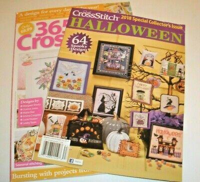 Halloween Cross Stitch Magazine (Lot of 2 CROSS STITCH 365 designs MAGAZINE VOL 7 2018 Plus JUST HALLOWEEN)
