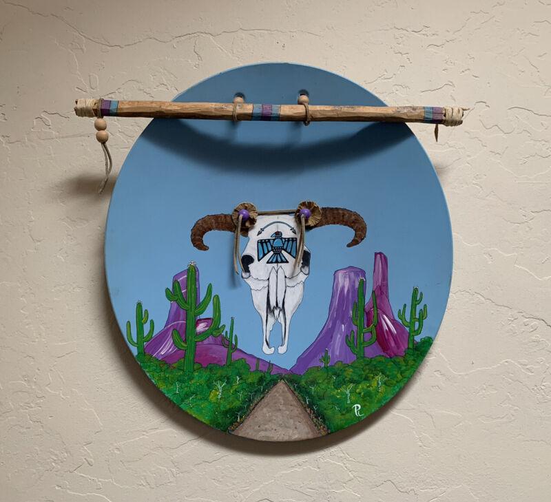 Painting Arizona Landscape Native American Medicine Shield Cow Skull Metal Art