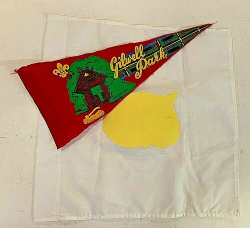 Vintage Cloth Pennant Gilwell Park Jim Green Gate Boy Scouts with Captured Flag