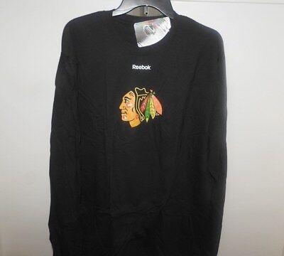 NHL Chicago Blackhawks Long Sleeve Black Hockey Shirt New Mens Sizes  Chicago Blackhawks Long Sleeve Shirt