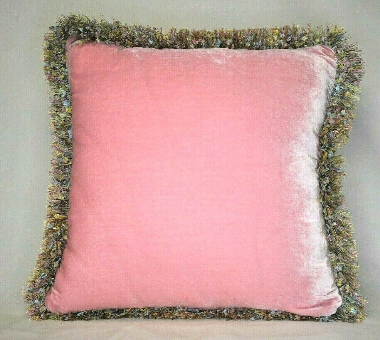 large solid pink silk velvet decorative throw pillows with f