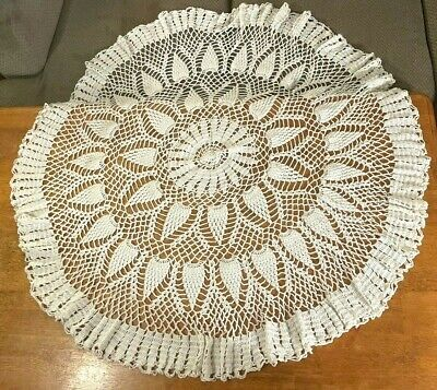 """vintage HAND-MADE CROCHETED ROUND TABLECLOTH (50"""") knitted TABLE TOPPER/CLOTH"""