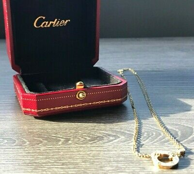 Authentic Cartier 18K Yellow Gold Woman's Love Necklace, 2 Diamonds (CRB729500)
