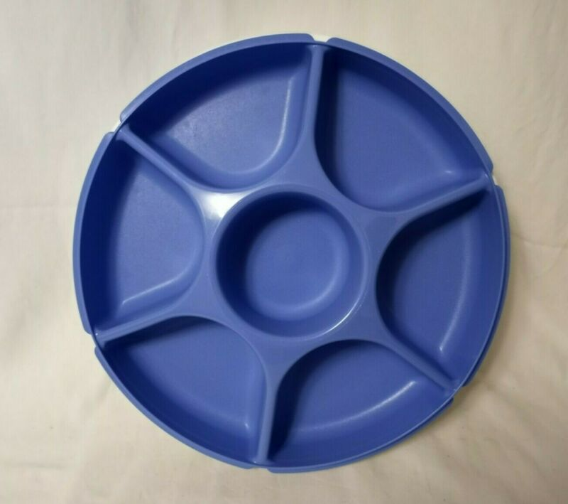 """Tupperware Divided Round Container w/Lid 13"""" Vegetable Tray 1665/1666 Blue"""