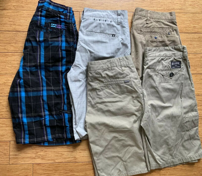 Boy's Men's Hurley Billabong Volcom Skate Shorts Lot Of 5 All Size 29