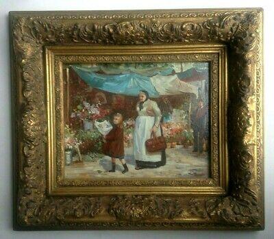 Superbe tableau peinture à l'huile signée Romain avec superbe cadre marché fleur