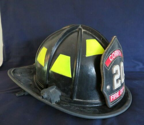 Vintage Fire Helmet W/ Leather Badge HB2-Plus Series 2001 Morning Pride