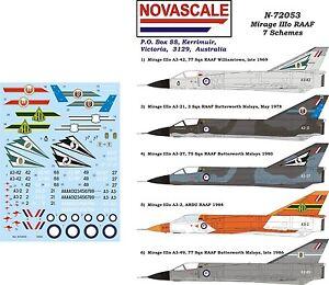 RAAF Mirage IIIo - 7 Schemes Decals 1/72 Scale N72053