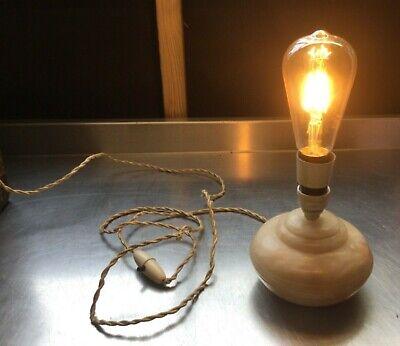 Vintage retro onyx marble lamp with original flex shade Edison light bulb