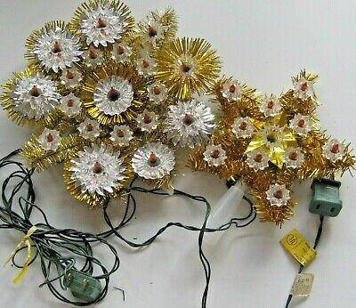 Vintage Christmas Light up Star Tree toppers 2pc Working