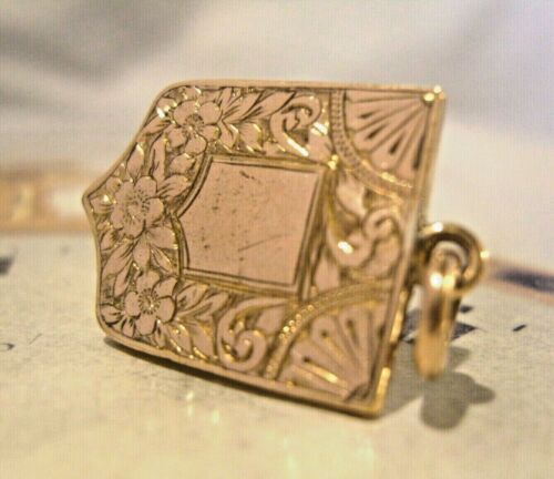 Victorian Pocket Watch Chain Fob 1890s Antique 10ct Rose Gold Filled Shield Fob