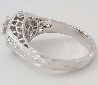 0.75 ct 18K White Gold Round Diamond Halo Engagement Ring GIA Rtl $2,700 7