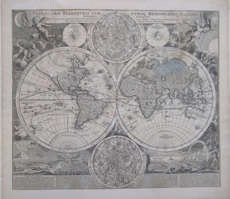 Original 1707 Homann DOUBLE-HEMISPHERE WORLD MAP California as Island Windheads