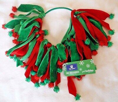 Size M/L Dog Christmas Necklace Red & Green Velvet & Pom Poms *New* Free Ship