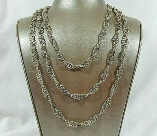 """VTG GUATEMALAN 72"""" HAND WOVEN SILVER CEREMONIAL WEDDING CHAIN NECKLACE"""