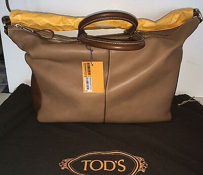 Tod's Miky Bauletto Grande in Caramel+Brown Leather - Brand New - Original $1995