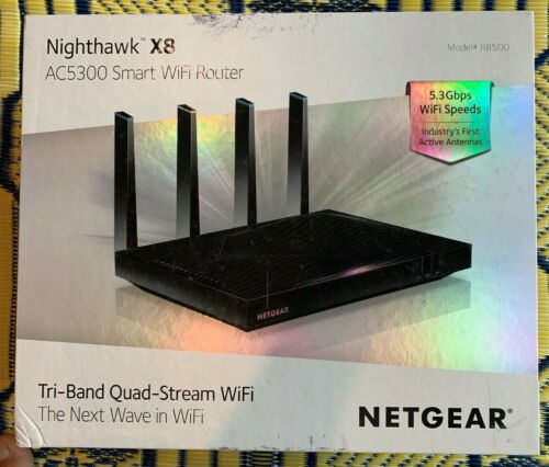 NETGEAR Nighthawk X8 AC5300 Tri-Band Quad Stream Wi-Fi Router Black R8500-100NAS