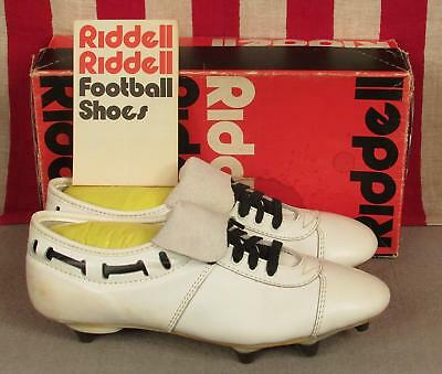 89773c219fa7 Vintage Riddell White Leather Football Shoes Cleats Scrambler NOS w/Box Sz  8 E