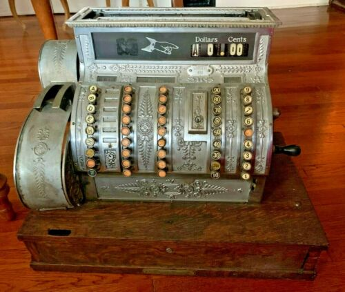 GORGEOUS & Rare 1924 National Cash Register, Model 452 - Nickel Plated, WORKS!