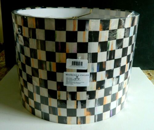 """NEW Mackenzie childs lamp shade Large Drum Courtly Check 15"""" W X 11""""H"""
