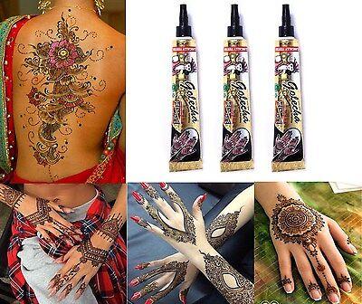 3 x Golecha Henna Paste Tube Schwarz 75g  Klinisch getestet Mehndi Tattoo Indien
