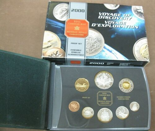 2000 8 Coin Canada Proof Set Double Dollar
