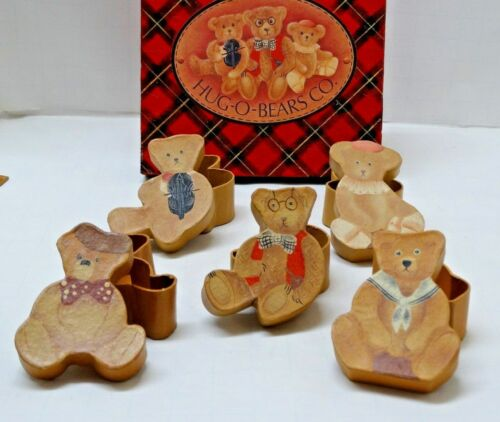 Boxed Set of (5) VINTAGE figural TEDDY BEAR SHAPED BOXes  unique for Bear Lovers