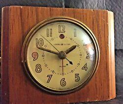 1940's Alarm Clock General Electric, Wood Block, Model 7H162 WORKS GREAT!