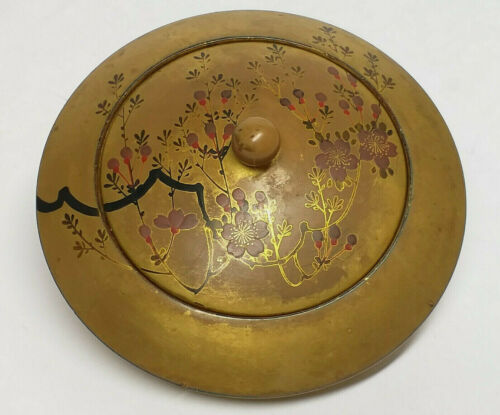 Antique JAPANESE GOLD LACQUER BOX w/ Flowers Motif