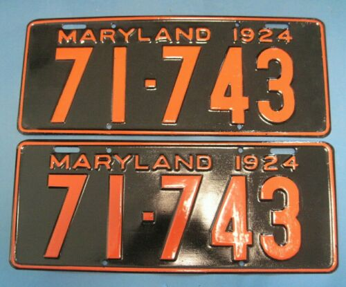1924 Maryland license plates matched pair older repaint