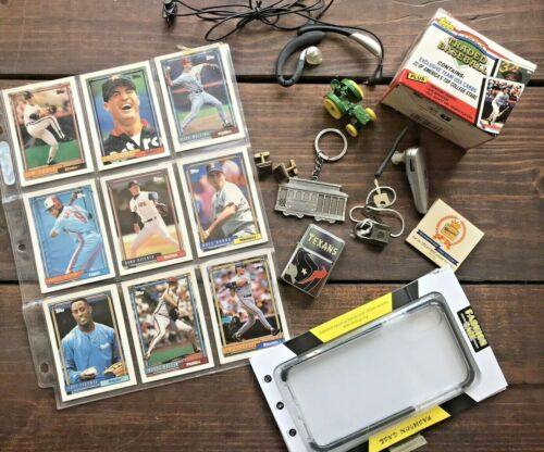 JUNK DRAWER LOT BASEBALL CARDS;CUFFLINKS;KEYRING;LIGHTER;MATCHBOOK-MANCAVE