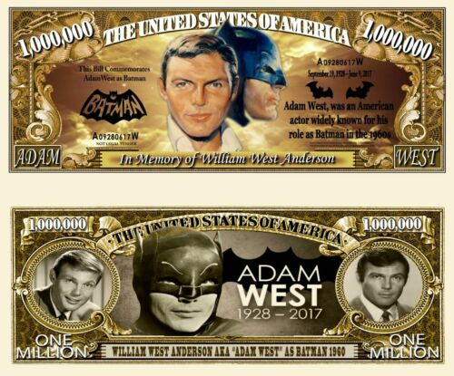 Adam West as Batman Million Dollar Bill Funny Money Novelty Note + FREE SLEEVE