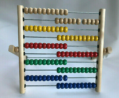IKEA Abacus: Math Educational Toy, 100 Colored Beads, Wood Frame, EUC