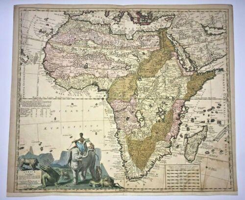 AFRICA 1710 N. VISSCHER II &  P. SCHENK  LARGE ANTIQUE ENGRAVED MAP 18TH CENTURY