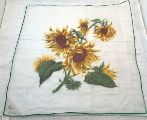 VTG Hand Printed Colette Sunflower Hanky Made in Japan Tags