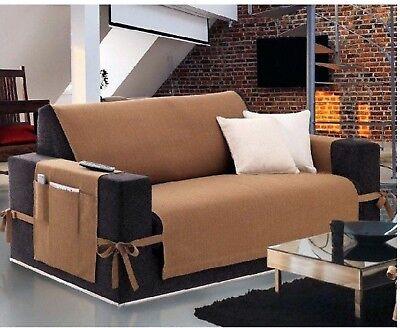 Salvadivano copridivano adattabile ad ogni divano 2 posti legacci tinta unica