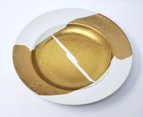 Kelly Wearstler for Pickard Doheny Porcelain Soup Plate Gold White Set of 8 New