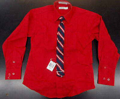 Boys IZOD $35 Red Dress Shirt w/ Clip-On Tie Husky Size 8H - 18H