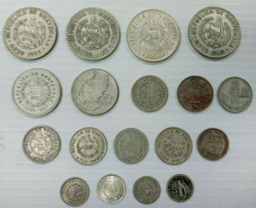 Lot of 18 1924-1962 Guatemala 50,25,10,5 Centavos 1/2 Real Silver Coin I998