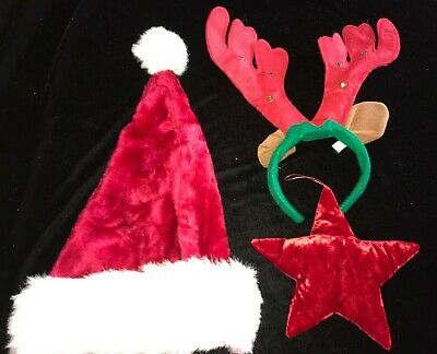 EDS Costumes Christmas Flashing Red Light Up Elf Hat Headband And Antlers 2 pack